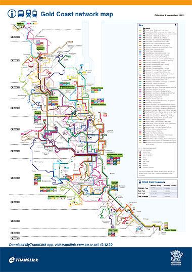 ゴールドコーストの公共交通機関マップ(路線図)