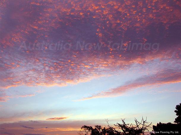 夕陽に染まるうろこ雲 2010年8月31日
