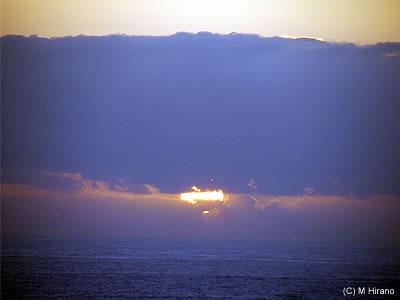 シドニー郊外のビーチから昇る2008年元日の初日の出