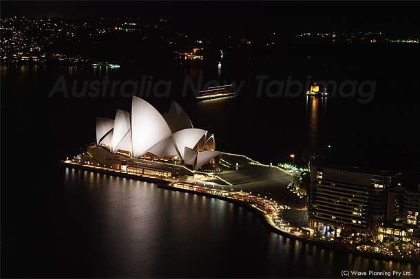 ライトアップされたオペラハウス、シドニー湾の夜景 2011年2月10日