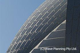 オペラハウスの滑らかな曲線を作る特殊タイル