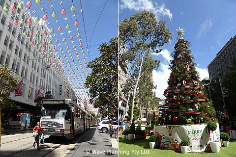 バークストリートモールのクリスマスデコレーションとクリスマススクエアのツリー