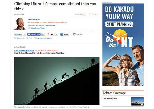 ウルル登山に関する豪シドニーモーニングヘラルド2013年6月の記事