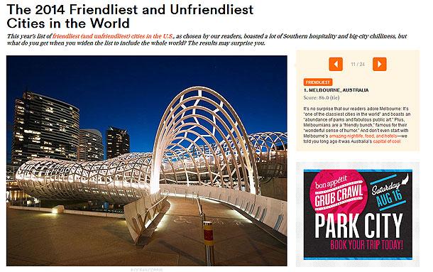 コンデナストトラベラー読者投票で選ぶ『世界で最もフレンドリーな街』第1位のメルボルン