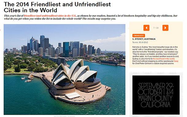 コンデナストトラベラー読者投票で選ぶ『世界で最もフレンドリーな街』第5位のシドニー