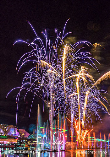 ダーリング・ハーバーでは毎晩、花火と光のショーを上演