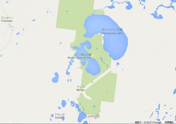たくさんの湖が表示されたGoogle Map