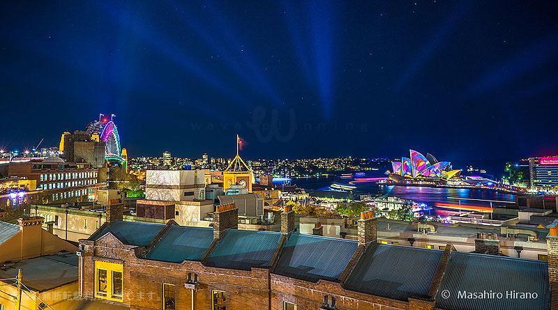 シドニーハーバーYHAのテラスから見るビビッド・シドニー