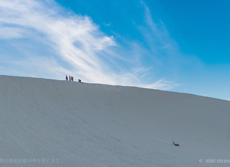 砂丘の頂上から急滑降!スピードはボード先端の上げ具合で調節可能