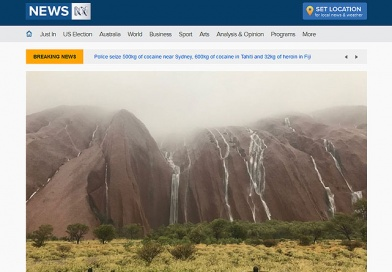 ウルルで豪雨!半世紀に一度という異常気象で巨大な滝が出現、エアーズロックリゾートも洪水