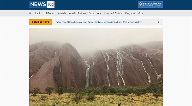 2016年末のウルルの豪雨うを伝える豪ABCニュース