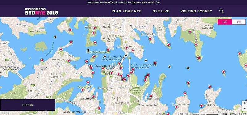 シドニー湾年越し花火大会マップ  ※クリックでシドニー市公式サイトへ飛びます。
