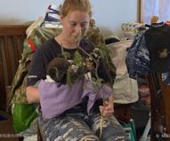 手当ての終わったコアラに餌を与える空軍の女性兵士(2020/1/29撮影)