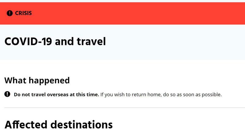 オーストラリア、3月30日から無期限で国際線停止へ