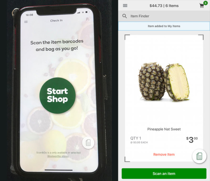 Scan & Goアプリを立ち上げると左の画面に。商品をスキャンすると右のように商品写真と商品名、価格が表示される。