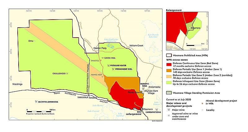 Woomera Prohibited Areaウーメラ立ち入り禁止地区マップ:オーストラリア防衛省